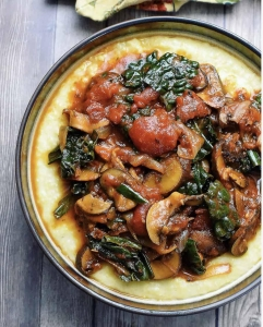 creamy polenta with mushroom ragu